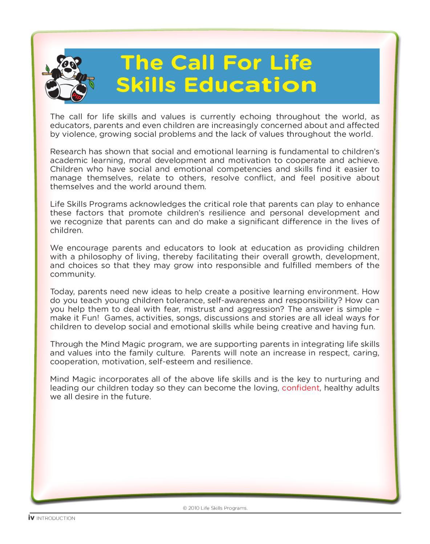 Teaching your children self esteem by Life Skills Programs