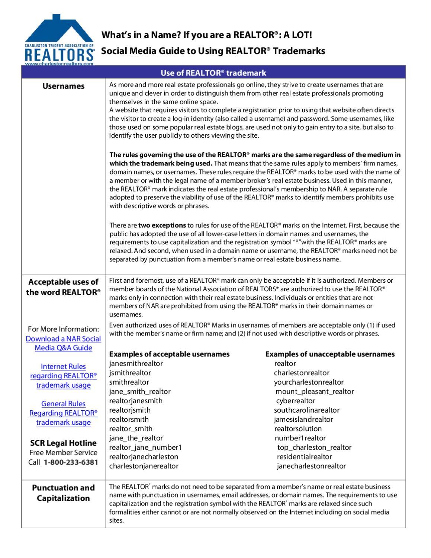 Social Media Trademark Fact Sheet REALTORS by South Carolina