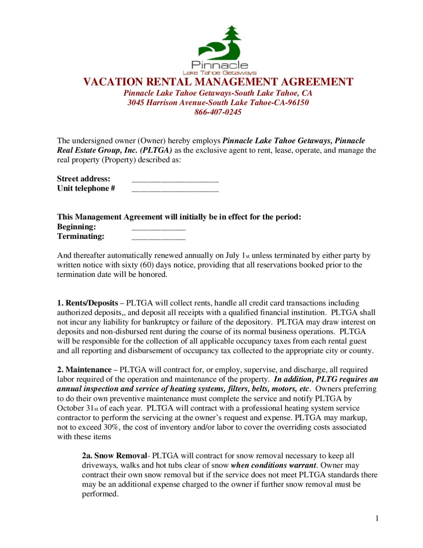 Vacation Rental Management Agreement Pinnacle Lake Tahoe Getaways By
