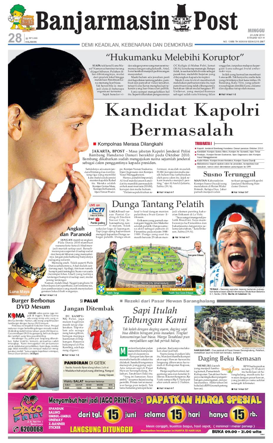 Banjarmasin Post Edisi Minggu 20 Juni 2010 By Tcash Vaganza 35 Sarung Orange Instan Anak Usia 1 7 Tahun Issuu