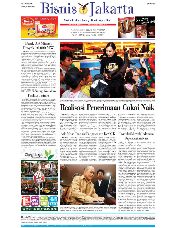 Bisnis Jakarta Senin 21 Juni 2010 By E Paper Kmb Issuu Produk Ukm Bumn Keset Our House