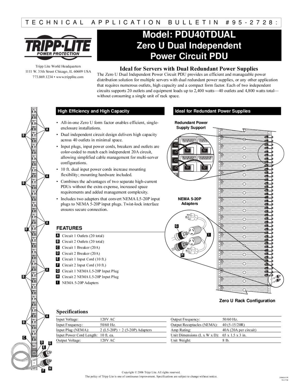 Tripp Lite PDU40TDUAL PDU 0U 40 NEMA 10 Cord