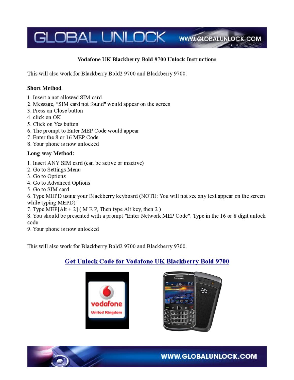 Vodafone UK Blackberry 9700 BOLD Unlock Instructions