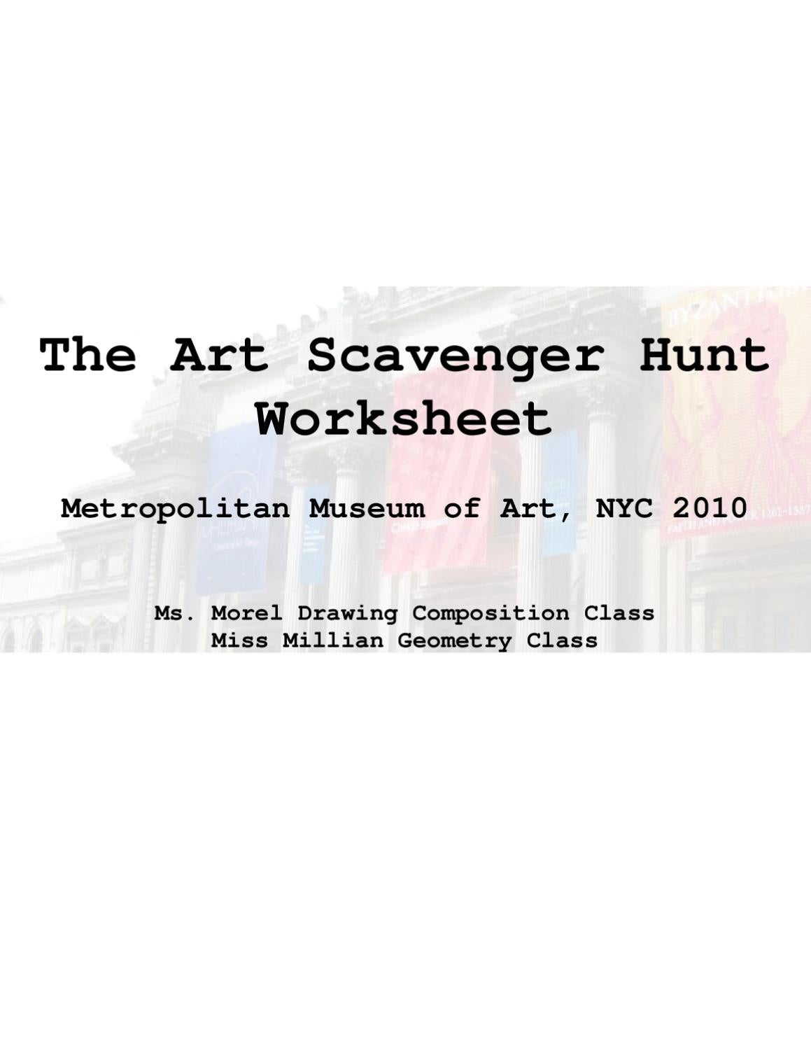 The Art Scavenger Hunt Worksheet by Hillary Andrlik issuu – Scavenger Hunt Worksheet