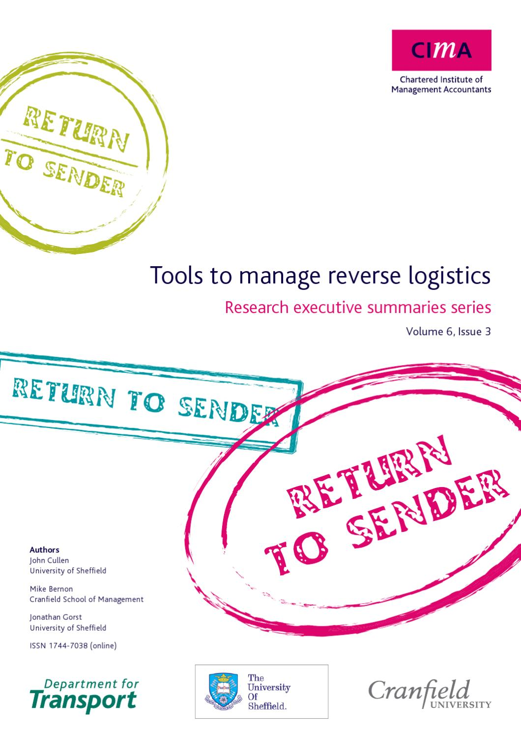 Tools to manage reverse logistics by Chartered Institute ...