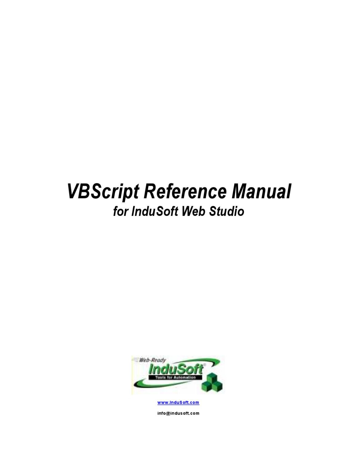 Indusoft Vbscript Reference By Vidal Fernandes Issuu