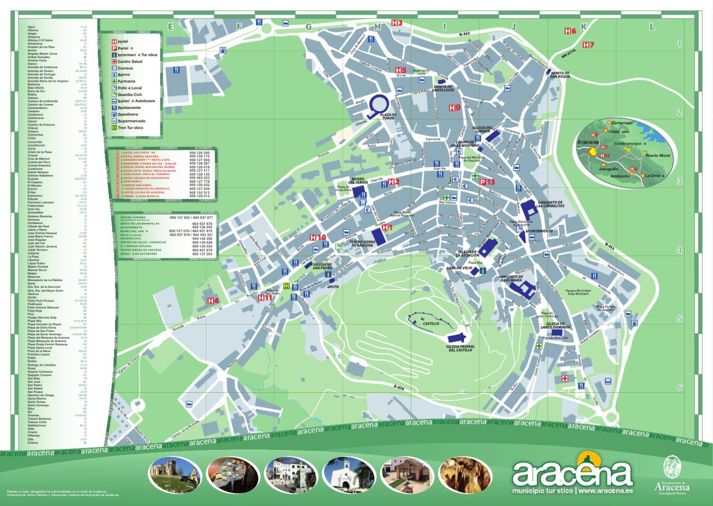 Plano tur stico ciudad de aracena by arunda comunicacion for Oficina de correos huelva