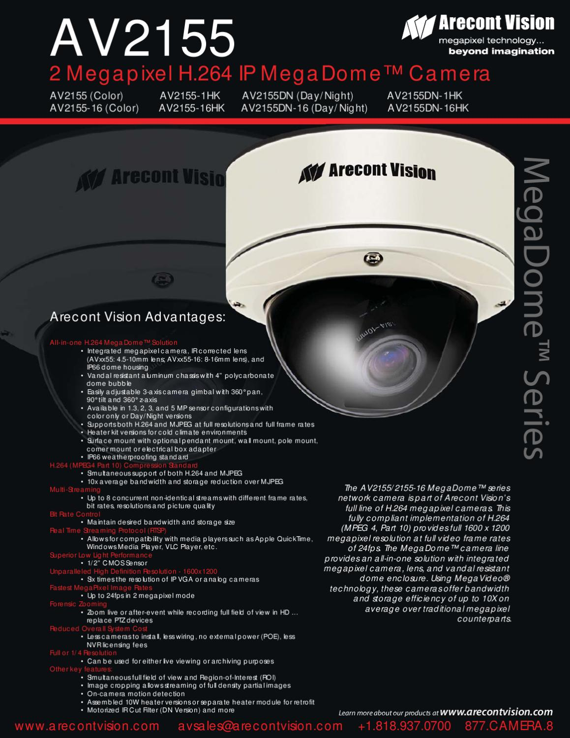 ARECONT VISION AV2155-16 IP CAMERA WINDOWS 7 DRIVERS DOWNLOAD
