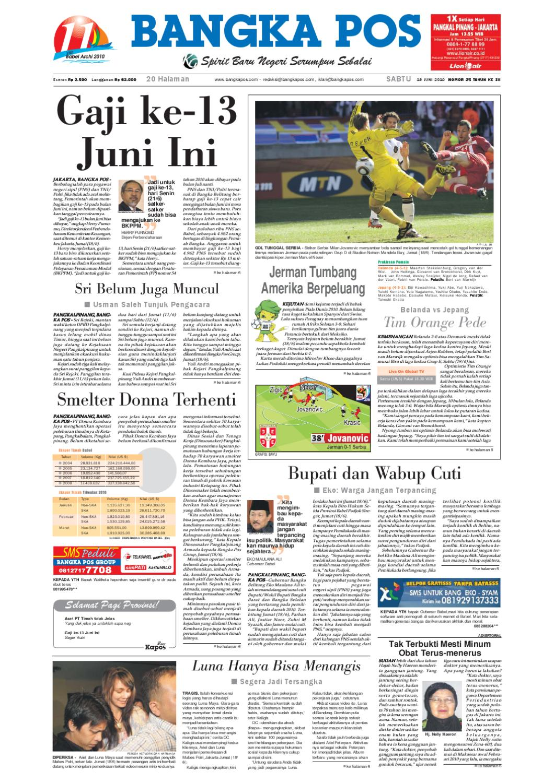 Harian Pagi Bangka Pos Edisi 19 Juni 2010 By Issuu Produk Ukm Bumn Jamu Kunyit Asam Seger Waras