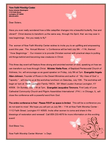 Nfwc womens conference invite letter by clarissa roan issuu dear sisters have you ever really wondered how a little catepilllar changes into a beautiful butterfly free and vibrant christ desires to transform us thecheapjerseys Images
