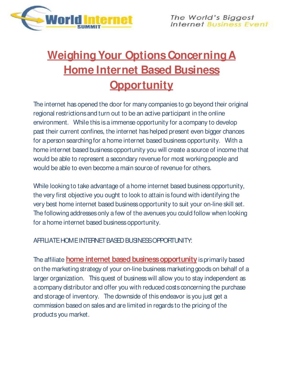 Weighing Your Options Concerning A Home Internet Based Business ...