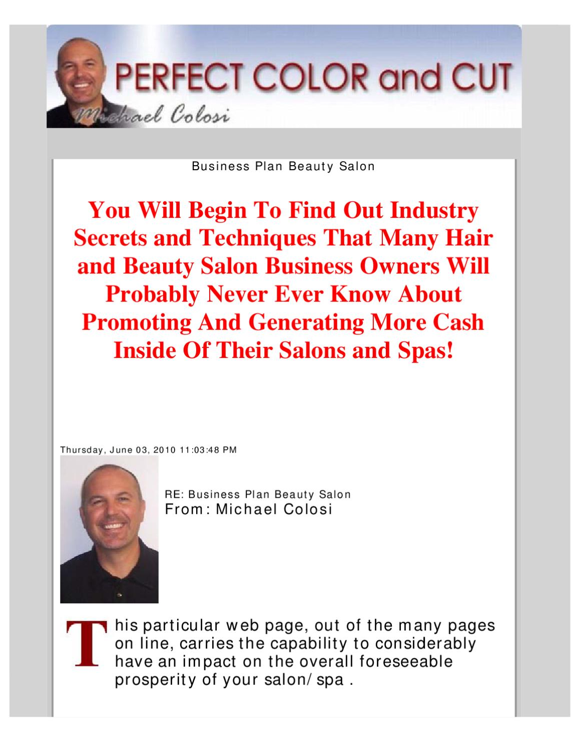 Business plan beauty salon by andrew s issuu for A beauty salon business plan