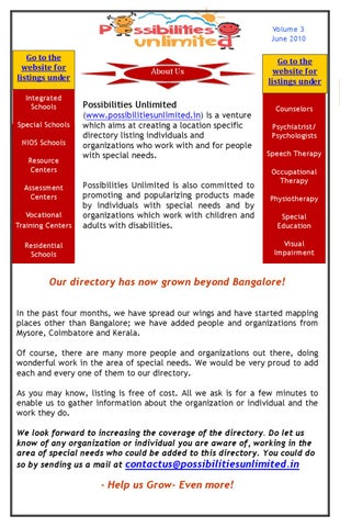 10 Special Needs Organizations You >> Newsletter Issue Apr Jun 10 By Renuka Menon Issuu