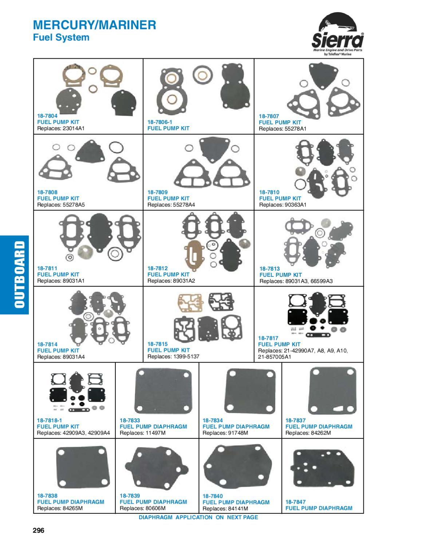 New Marine Mercury Fuel Pump Kit Replaces Sierra 18-7806-1