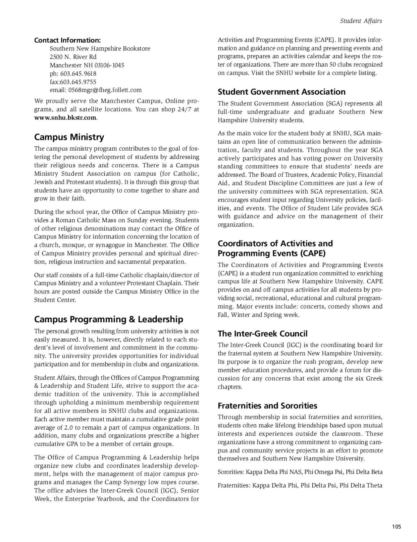 Snhu Academic Calendar.Southern New Hampshire University Undergraduate Catalog 2010 2011 By