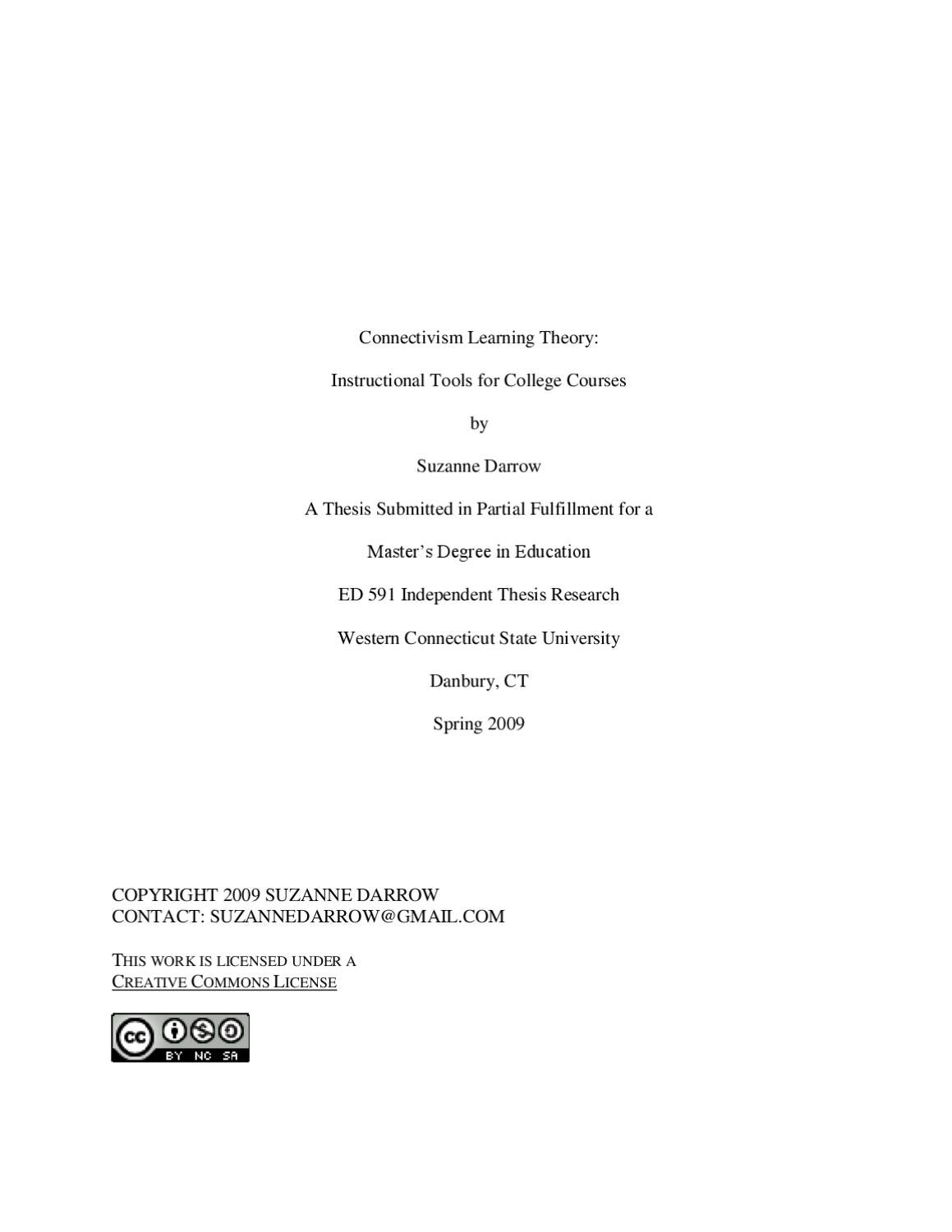 Connectivism Learning Theory Instructional Tools For College Courses