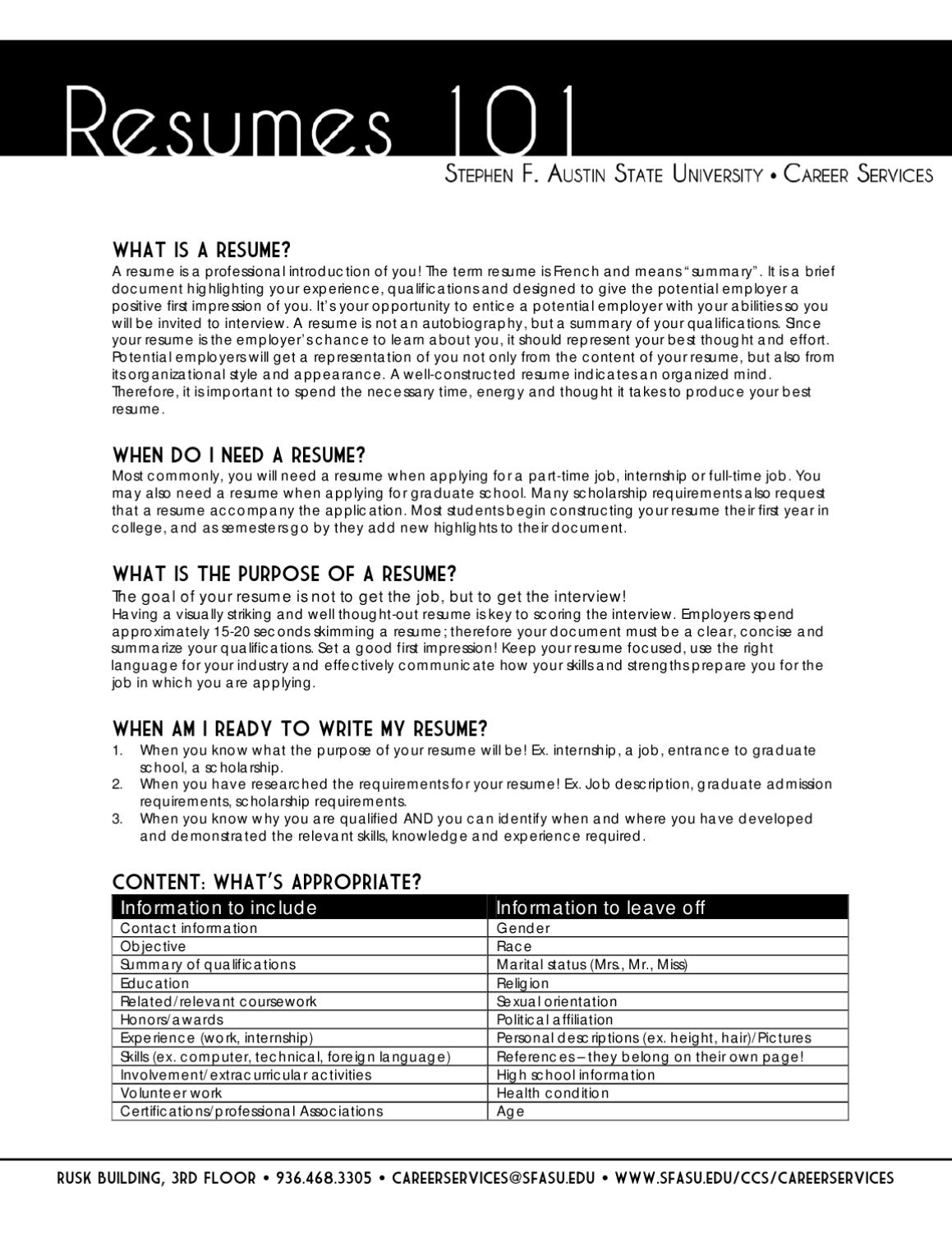 Resume 101 By Sfa Careers Issuu