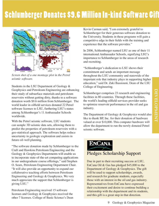 2007-2008 LSU Department of Geology & Geophysics Alumni