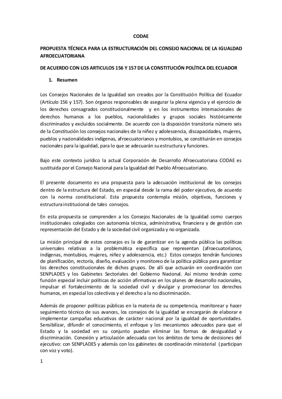 Propuesta Técnica para la Estructuración del Consejo Nacional de ...