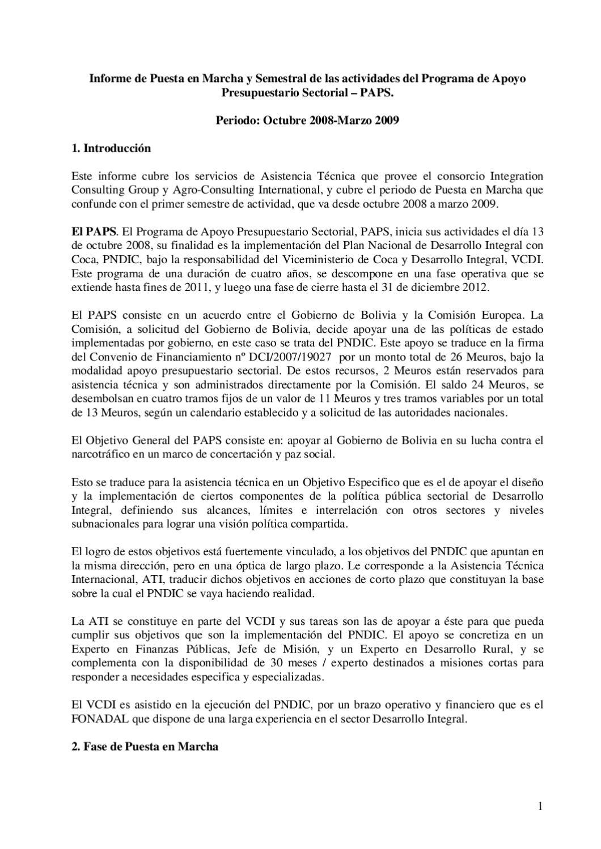 Informe Puesta en Marcha y Semestral de actividades del PAPS by ...