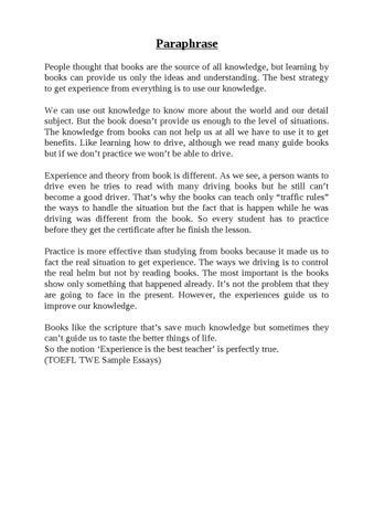 experience is the best teacher essay pdf