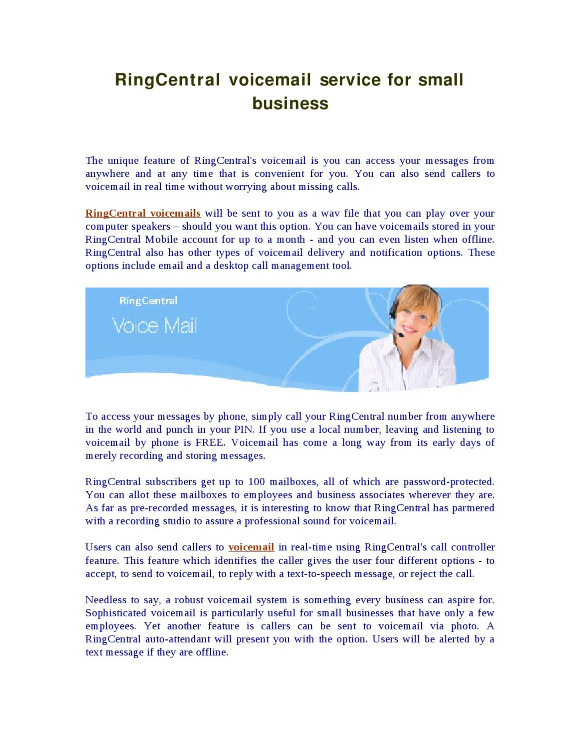 Ringcentral Voicemail Service For Small Business By James Allen Issuu