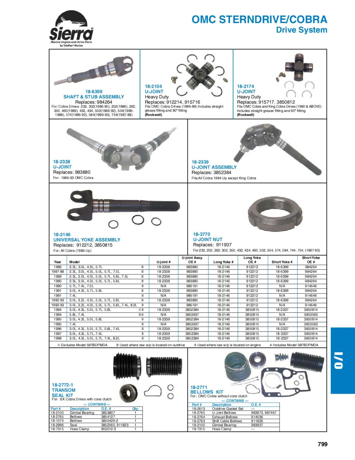 Sierra Marine Engine and Drive Parts for OMC Sterndrive
