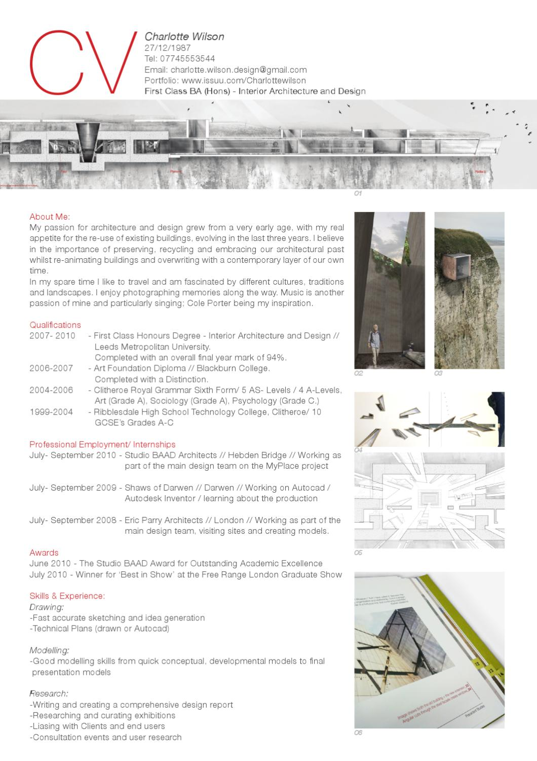 Curriculum vitae by charlotte wilson issuu for Cv template for architects