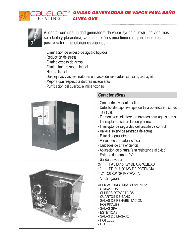 Manual del usuario unidad generadora de vapor electrica para ba o linea gve 2 by h2o tek s a - Beneficios del bano de vapor ...