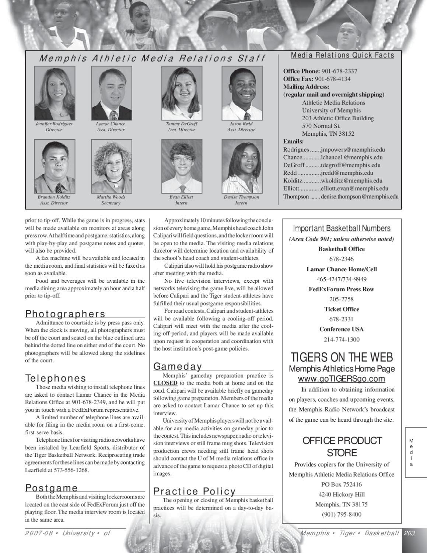 2007-08 Memphis Men's Basketball Media Guide by University