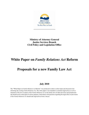 White Paper On Family Relations Act Reform By Postmedia Community