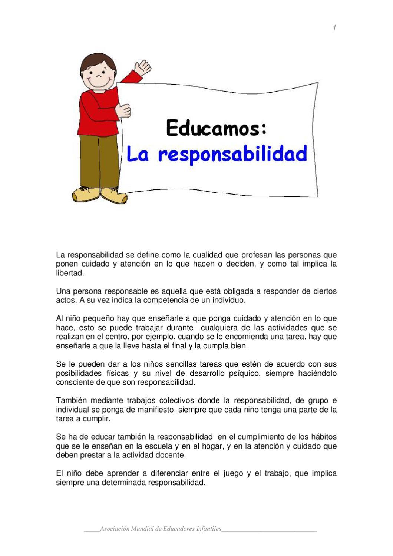 EDUCANDO LA RESPONSABILIDAD EN LOS NIÑOS by MONICA TEJEDOR ARJONA ...