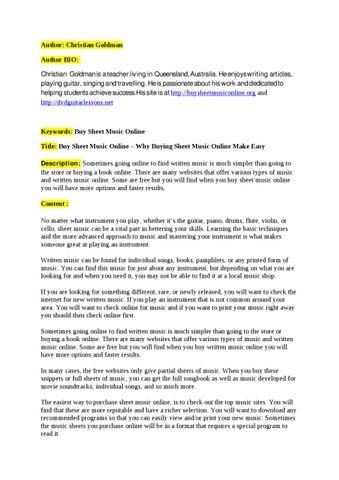 Buy Sheet Music Online Why Buying Sheet Music Online Make