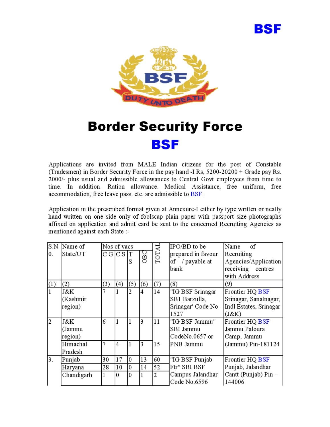 BSF Recruitment 2010 by Amit Kumar - issuu on leave my presence, offer to purchase form, leave of absence form, employee leave form, medical claim form, recruitment form, vacation request form, timesheet form, payroll form, employee separation notice form, office format for leave form, grievance form, daily report form, leave form example, certificate of service form, leave calendar, leave request, resignation form, employee information form, leave approval form,
