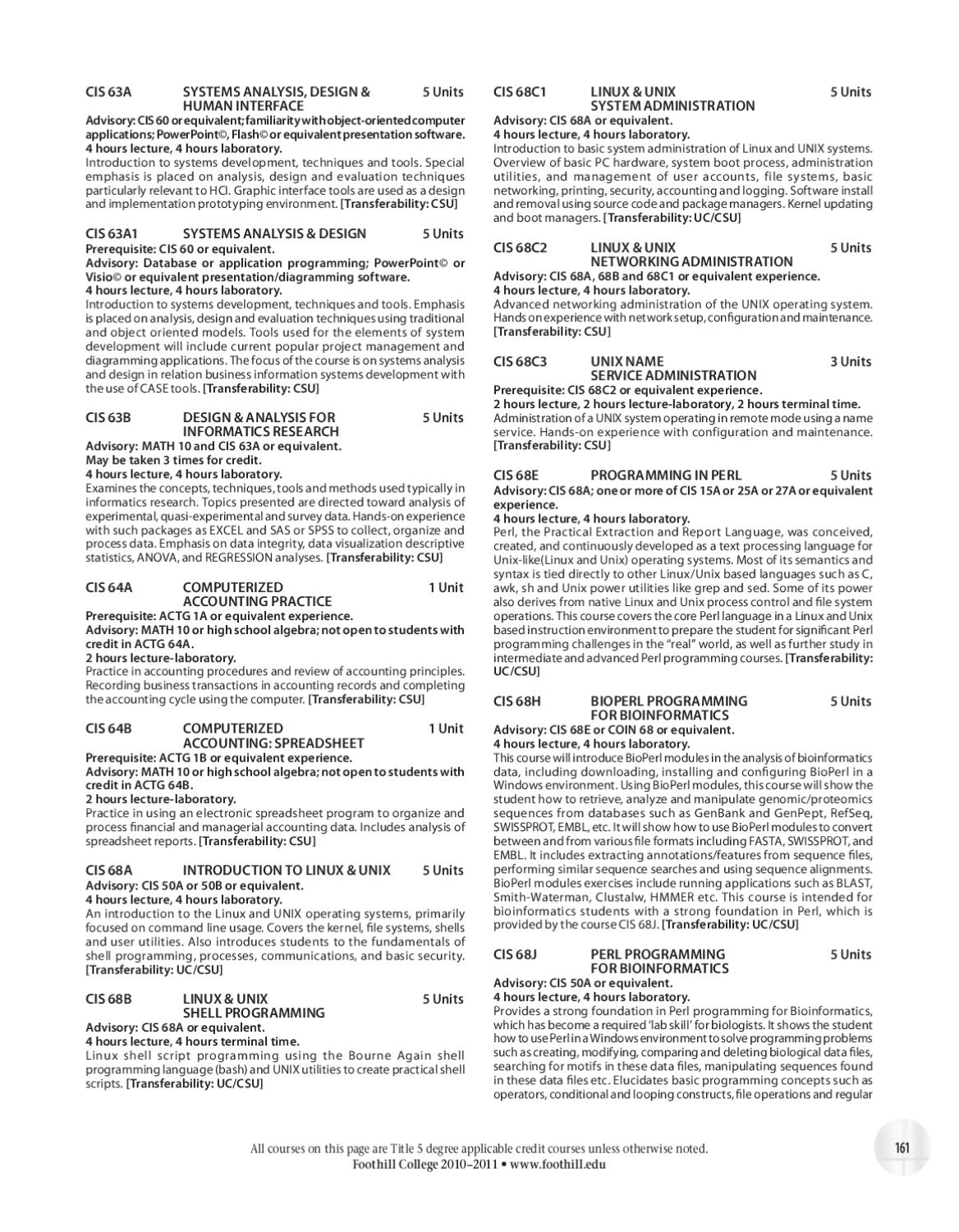 Foothill College 2010-2011 Course Catalog by Foothill