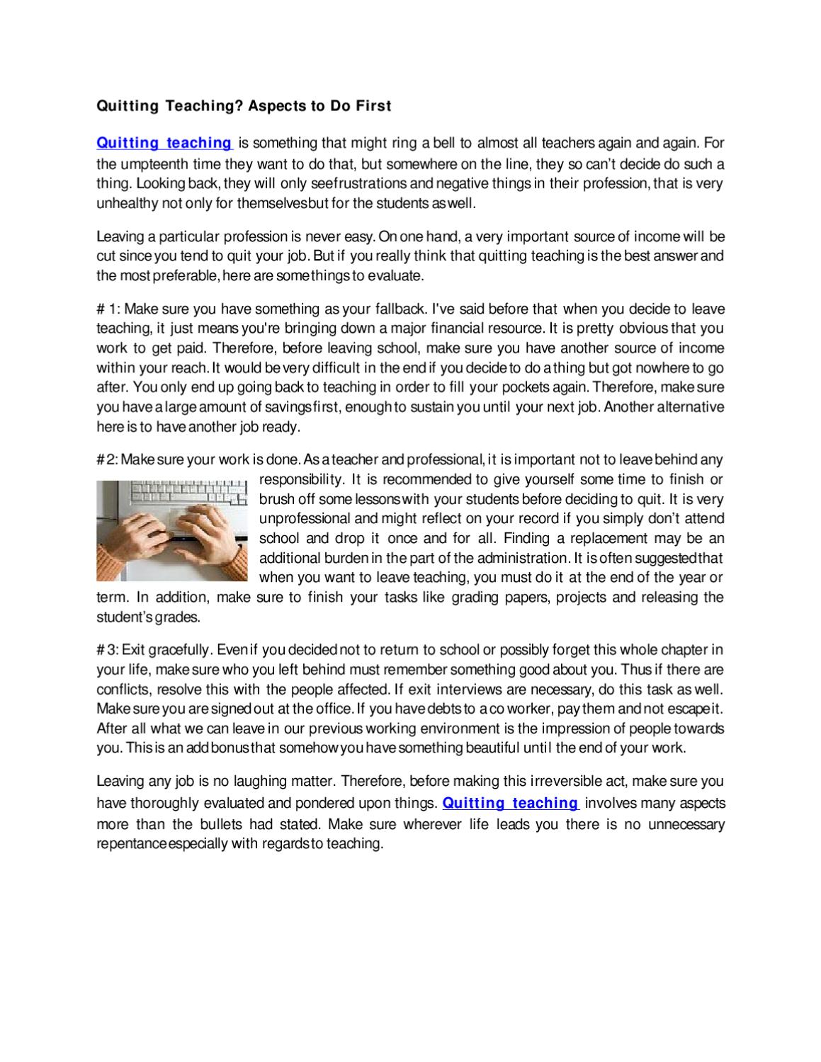 Quitting Teaching By Shequinah Smith Issuu