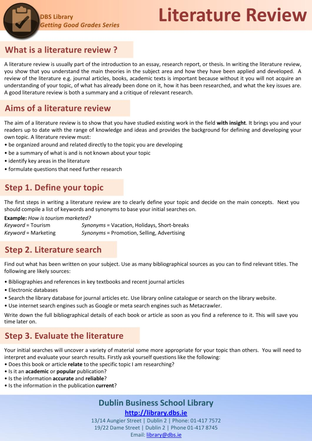 steps writing effective literature review