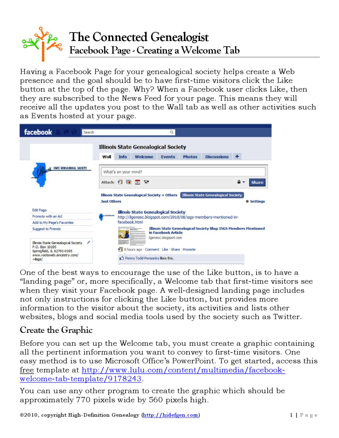 Facebook Page Creating A Welcome Tab By High Definition Genealogy