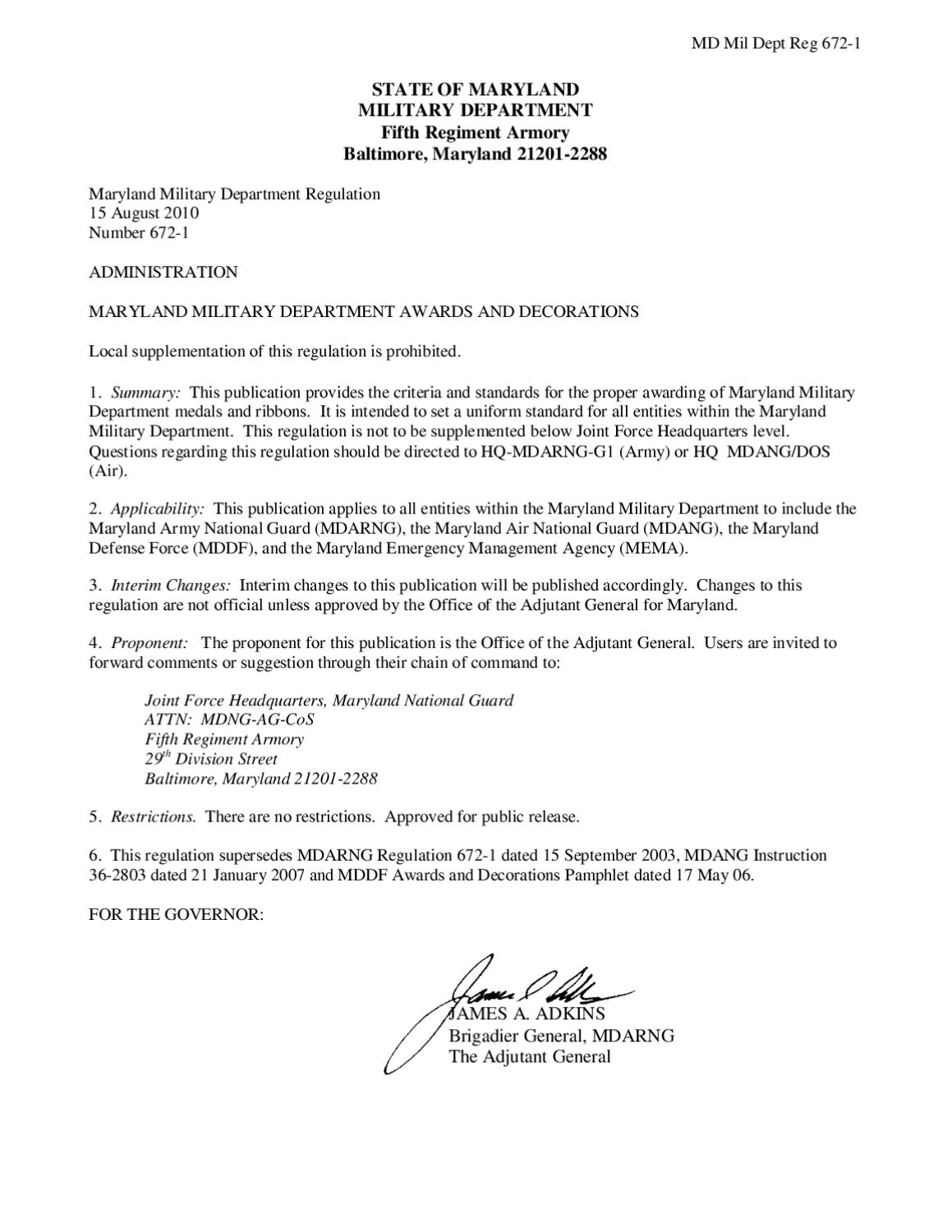 Maryland military department regulation 672 1 awards and for Uscg memo template
