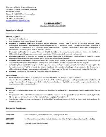 Diego Mendoza Curriculum Vitae By Diego Mendoza Issuu