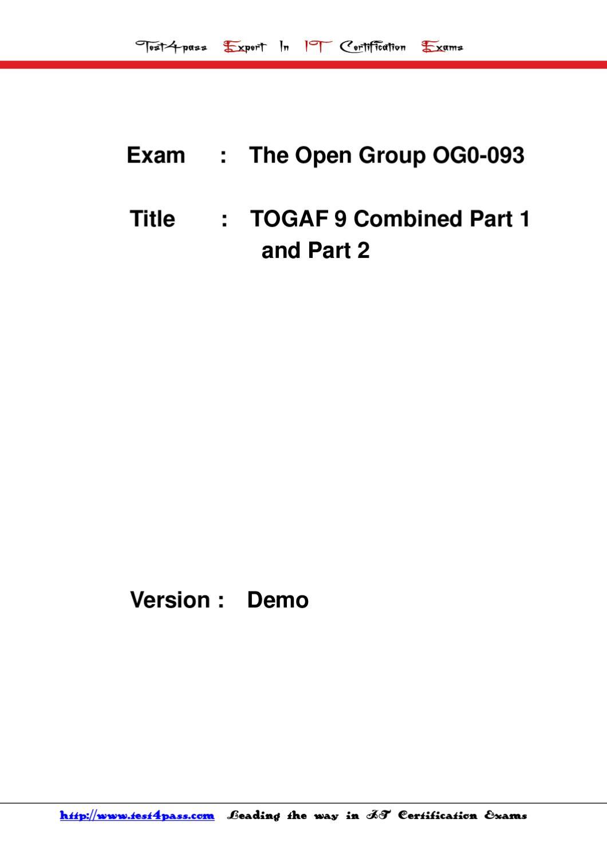 Test4pass exam og0 093 dumps pdf torrent by jacck bruce issuu xflitez Gallery