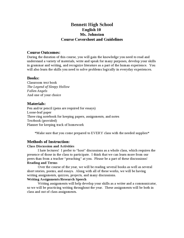 10th Grade Syllabus by Shaina Johnston - issuu