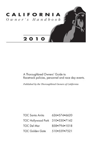 Toc 2010 Owners Guide By Thoroughbred Owners Of