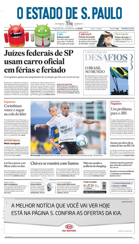 1b764ad741 O Estado de SP em PDF - Segunda 09082010 by Carlos Silva - issuu