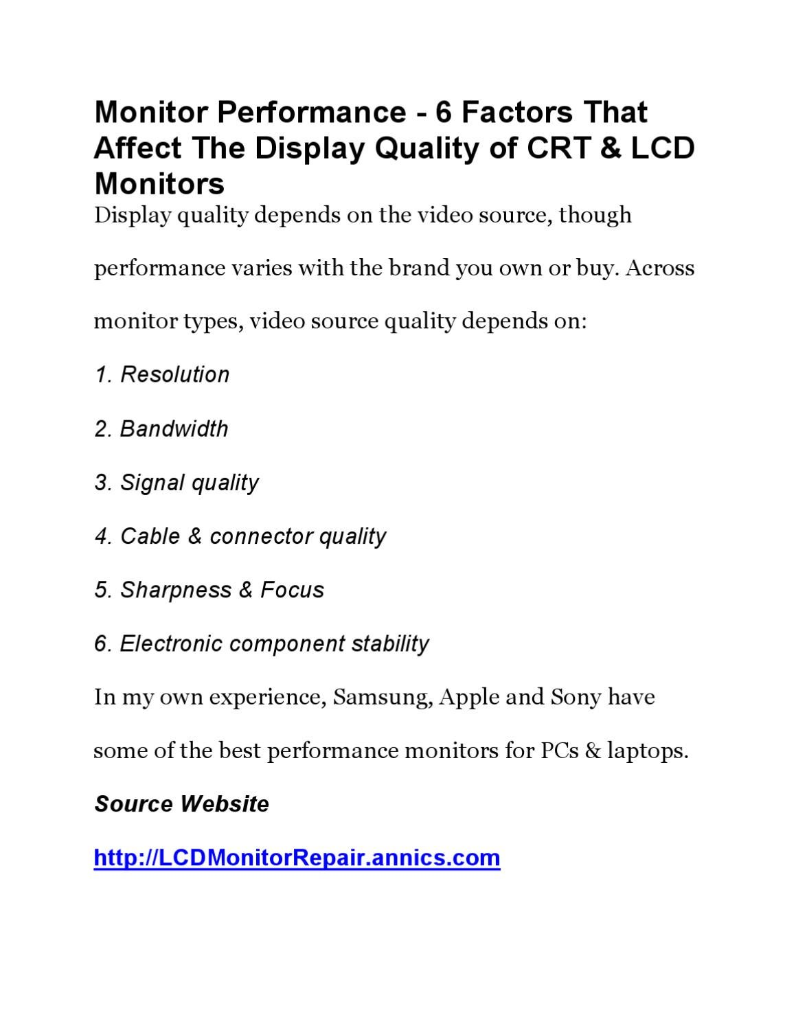 monitor performance 6 factors that affect the display quality of crt and lcd monitors by nat. Black Bedroom Furniture Sets. Home Design Ideas