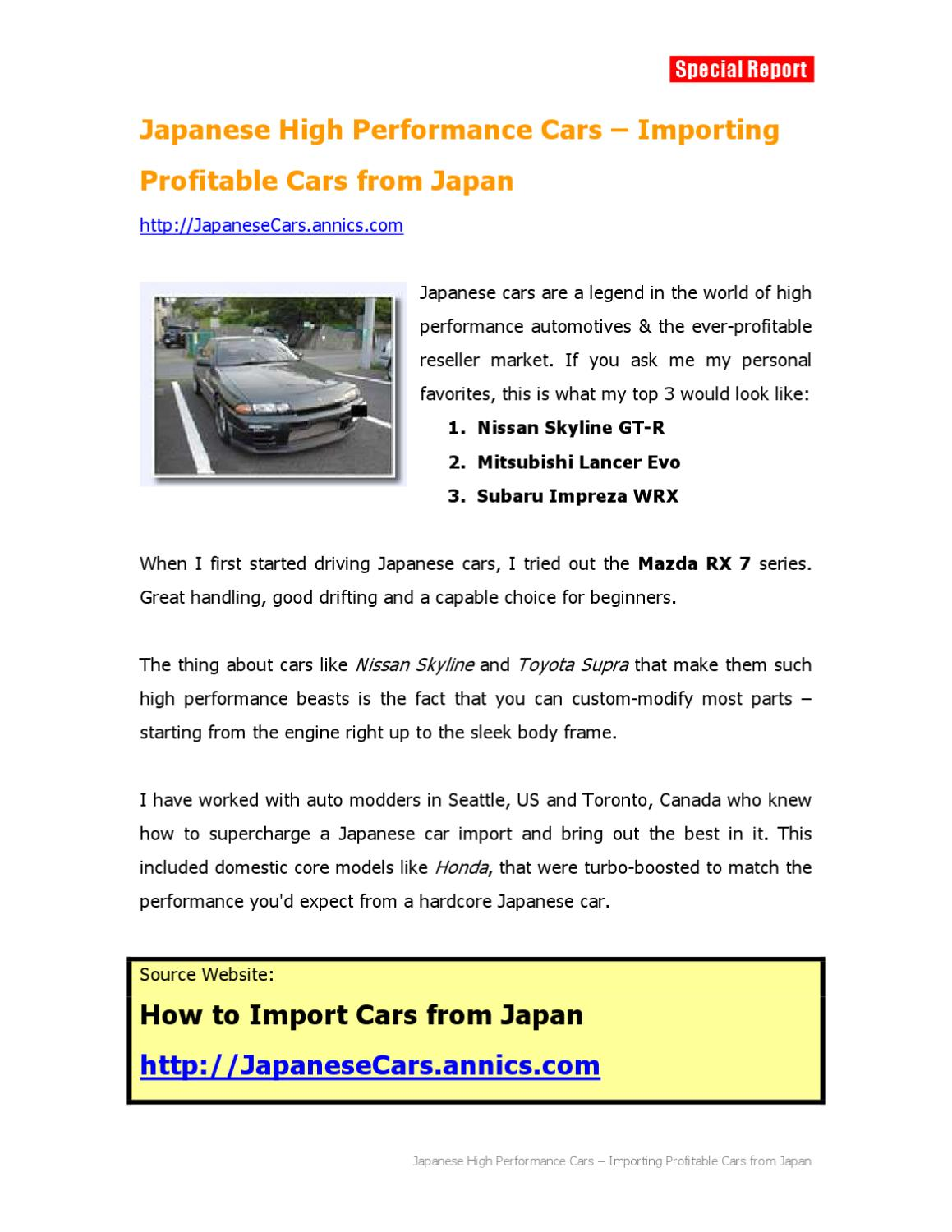 Japanese High Performance Cars Importing Profitable Cars From