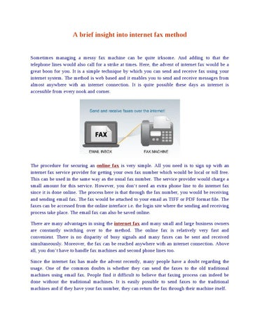 A brief insight into internet fax method by James Allen - issuu