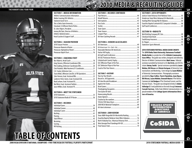 4c5b66b6 2010 Statesmen Football Media Guide by Delta State University - issuu