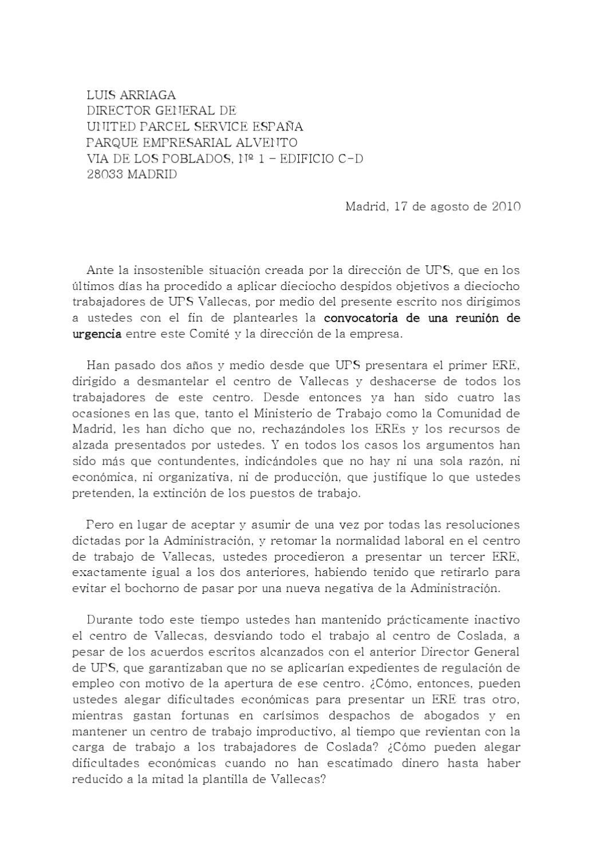 Carta dirigida a la dirección de la empresa UPS by ERE UPS - issuu