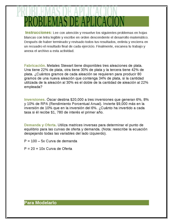 PROBLEMAS DE APLICACIONES DE OPERACIONES CON MATRICES by Patricia ...